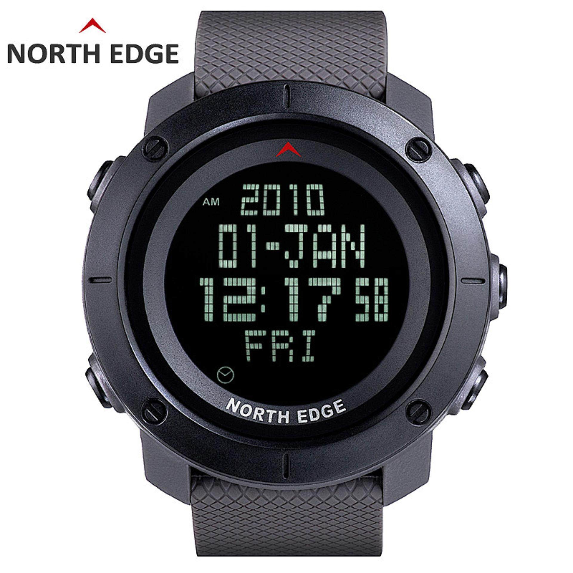 Fitur North Edge Mens Sports Digital Watch Jam For Menjalankan Running Hours Swimming Military Army Watches Water Resistant 50m