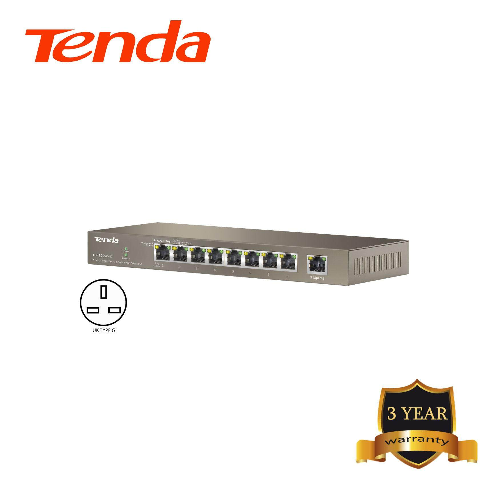 Tenda TEG1009P-EI 9-port Gigabit Desktop Switch with 8-port PoE