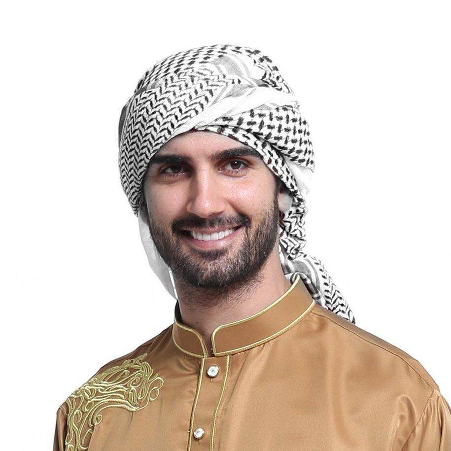 CFB Geometric Printed Muslim Hats For Men Arabia Man Scarf Muslim Hijab Scarf - intl