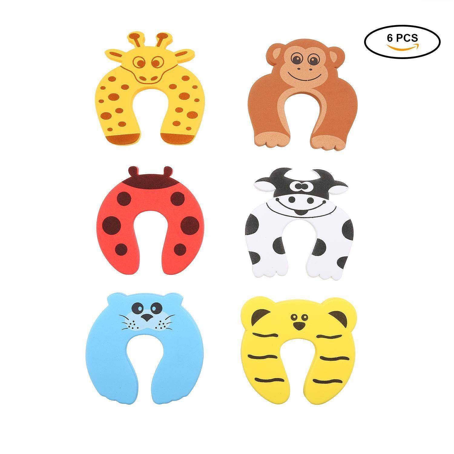 yydsop 6 Pcs Safety Shock Absorber Door Stoppers Anti-pinch Protect Fingers In Animal Cartoon Shapes For Child And Baby - intl