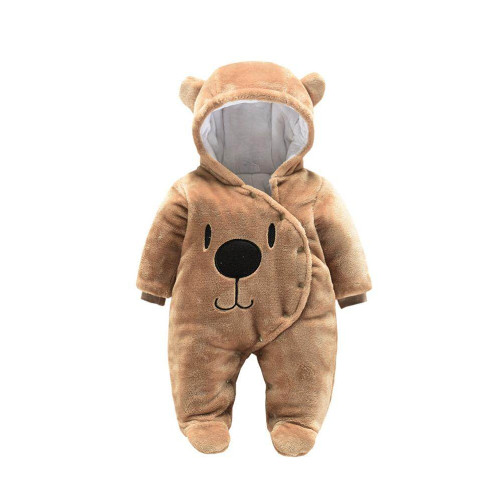 Baby Unisex Cute Cartoon Jumpsuit Thicken Flannel Rompers Warm Hooded Clothes