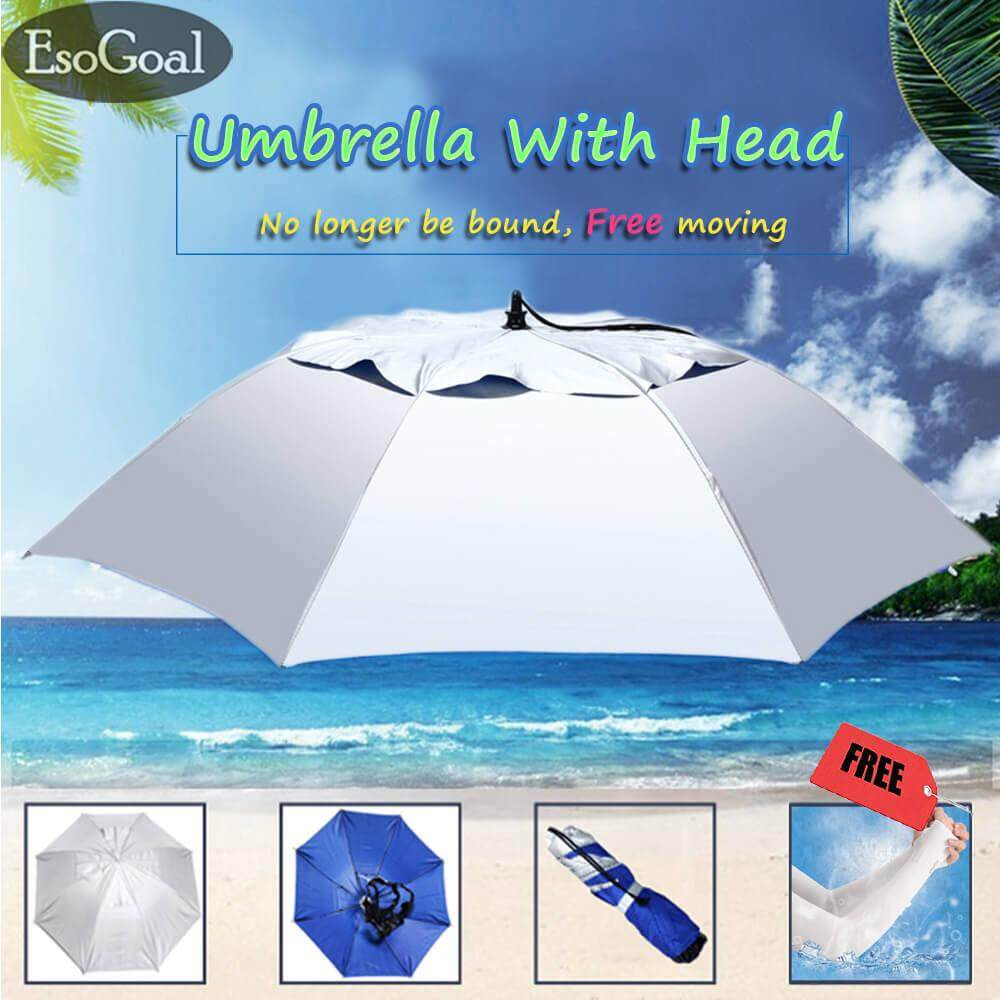 "4287a85ed EsoGoal Hand Free Umbrella Hat Waterproof Elastic for Fishing Gardening  36""Diameter Folding Headwear with"