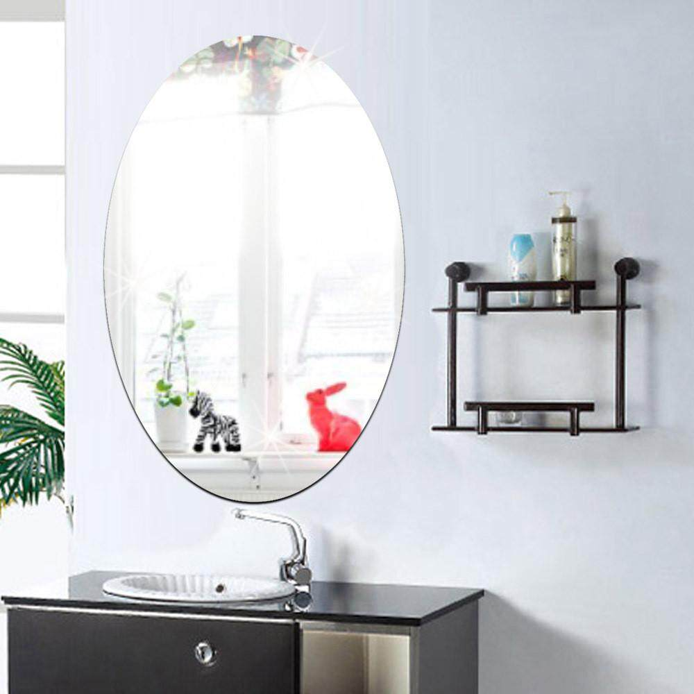 2742cm oval acrylic bathroom waterproof mirror sticker