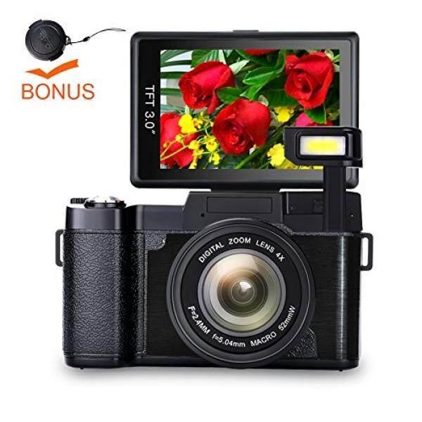 GPL/Digital Kamera Vlog Kamera HD Penuh 1080 P Titik dan Menembak Kamera Flip Layar Kilat Kamera Cahaya Camcorder dengan Tutup Lensa/ kapal dari Amerika Serikat-Intl