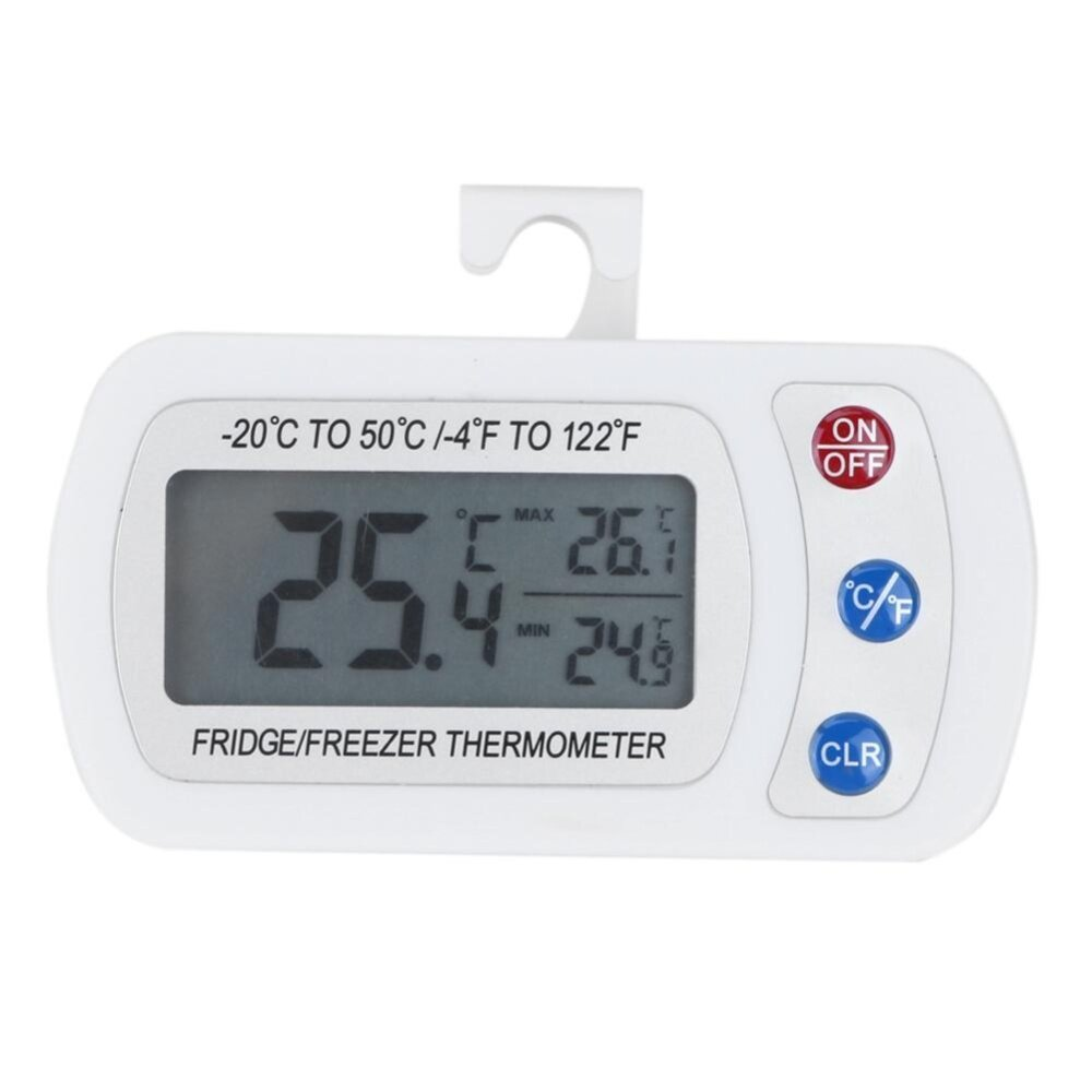 Waterproof Digital LCD Freezer Refrigerator Thermometer with Hanging Hook