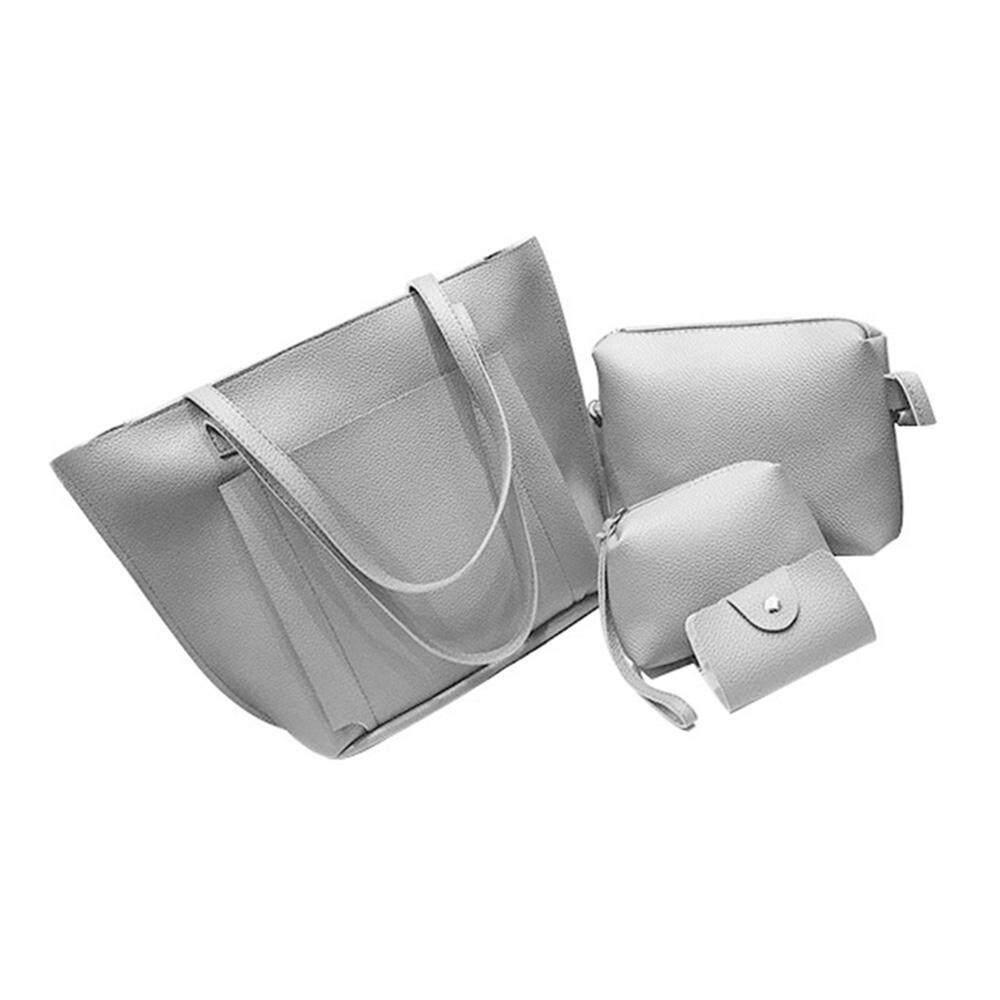 Hình ảnh opoopv 4pcs/set Women PU Leather Handbags Single Shoulder Bags Card Coin Purse Wallet Small Messager Pure Color Totes Bag - intl