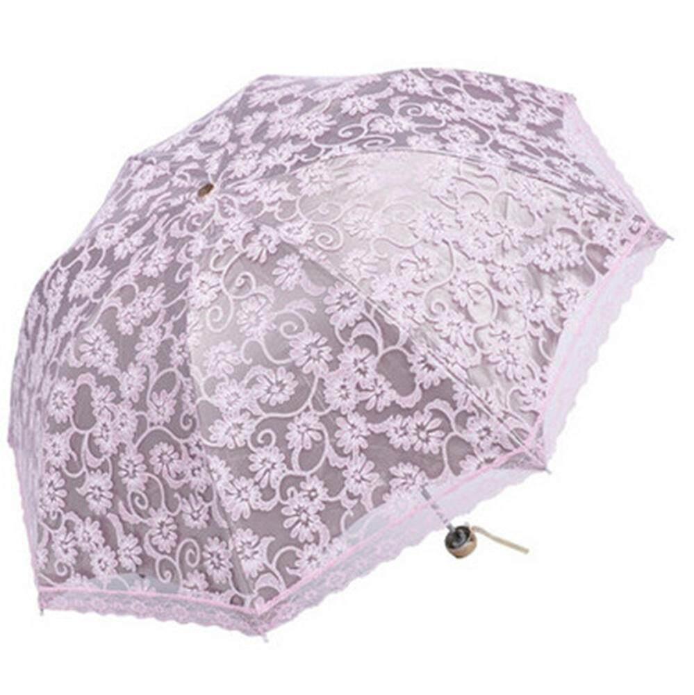 robxug Compact Lace Wedding Parasol Folding Travel Sun Umbrella UV Block (Pink)