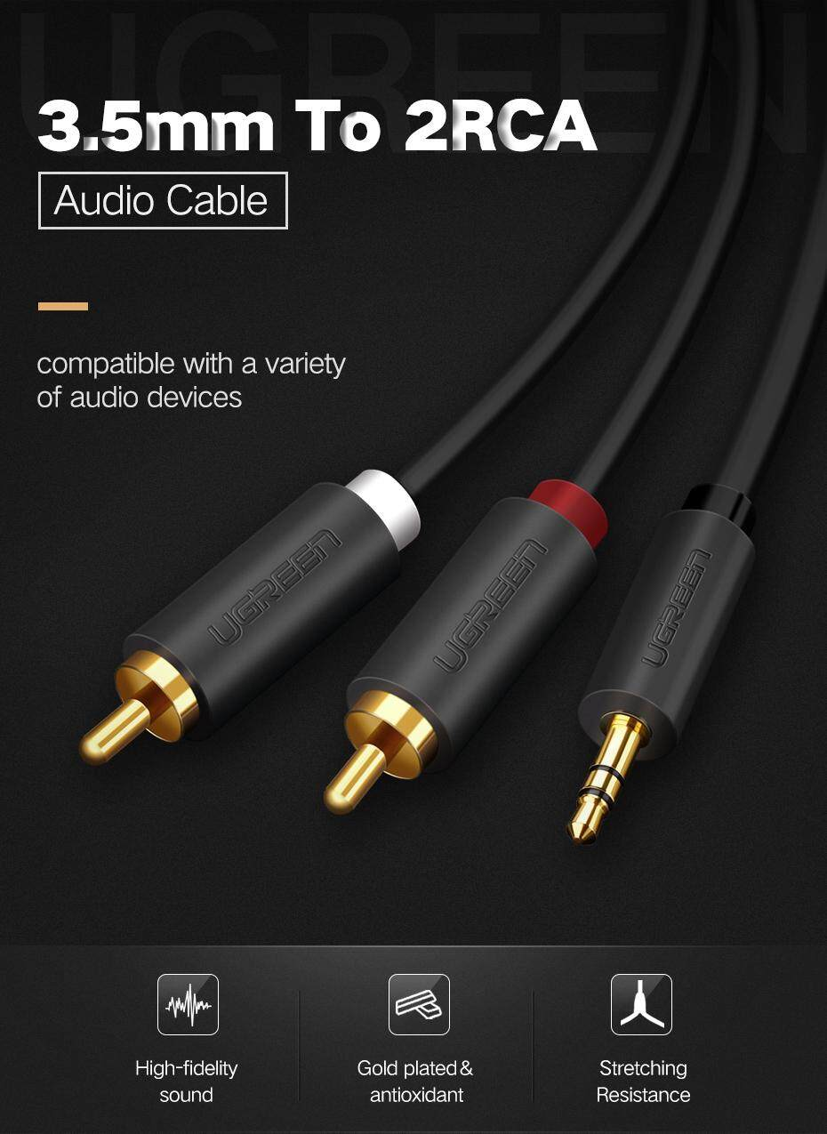 UGREEN 1Meter 3.5mm to 2RCA Male Aux Cable for Edifer Home Theater ...