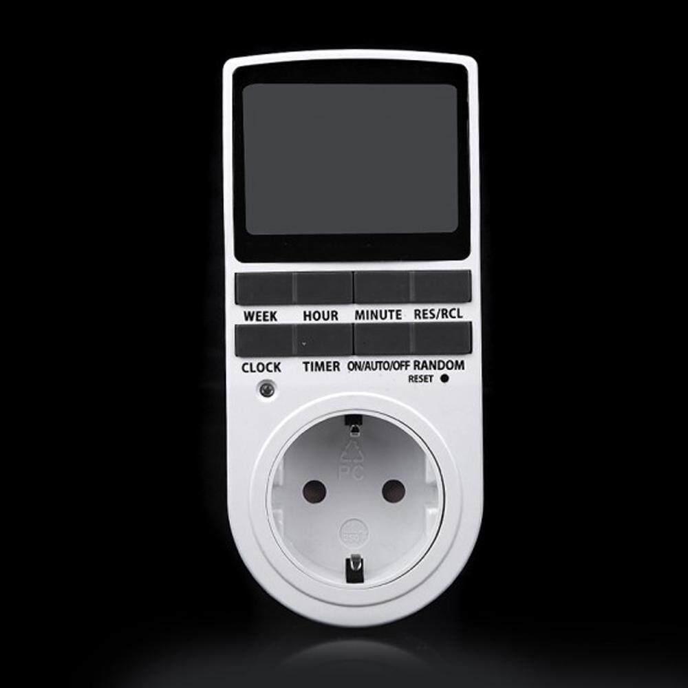7Day Digital Dapat Diprogram Penghitung Waktu LCD Steker-Dalam Soket Sakelar 12/24 Jam