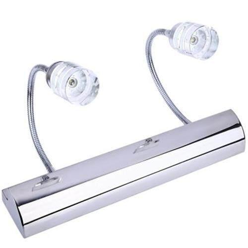 2W CRYSTAL LED STAINLESS STEEL BATHROOM MIRROR LIGHT ADJUSTABLE WATER FOG LAMP (SILVER)