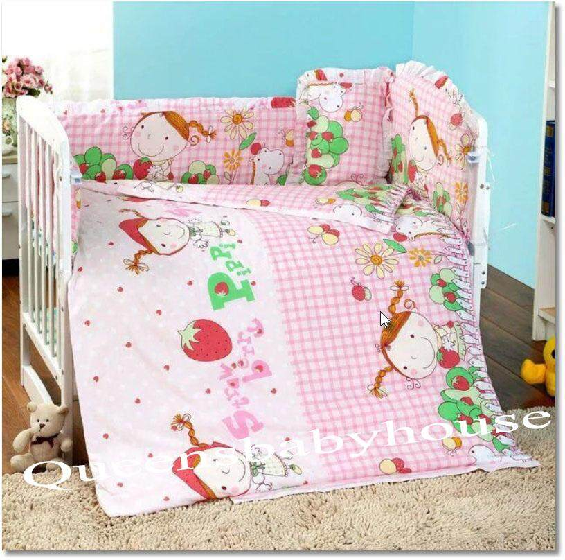Baby Cot Strawberry Bedding Set (60x120cm) By Queens Baby House.