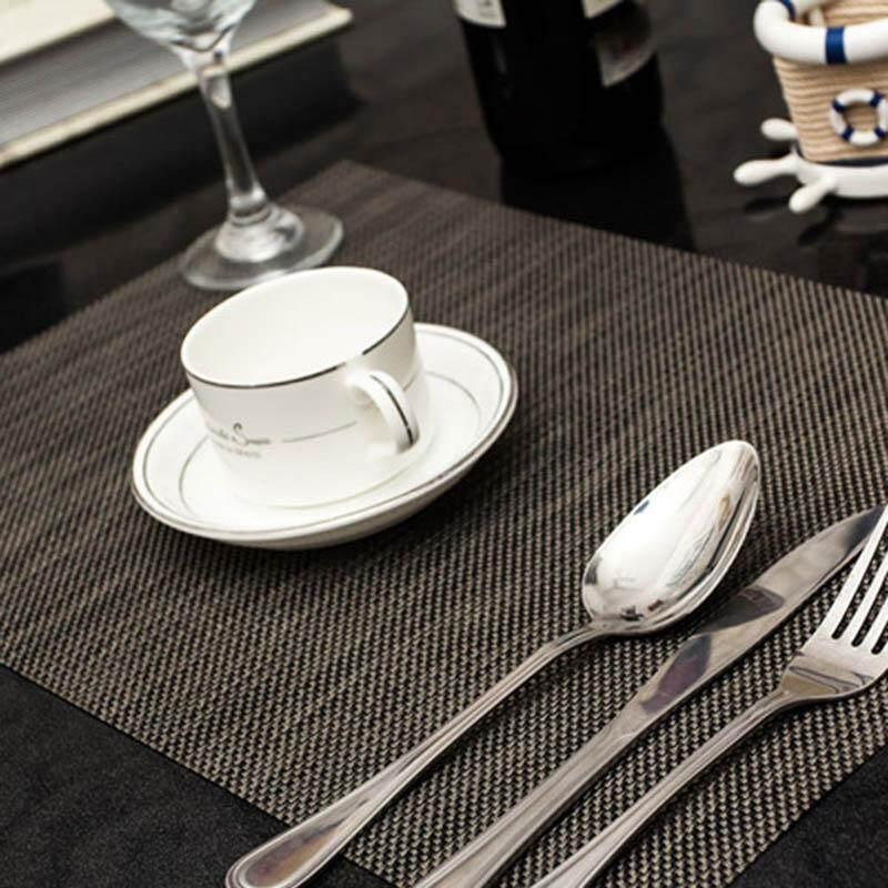 PAlight 4 Pcs Weave Placemat PVC Dining Table Mat Bowl Slip-resistant Pads