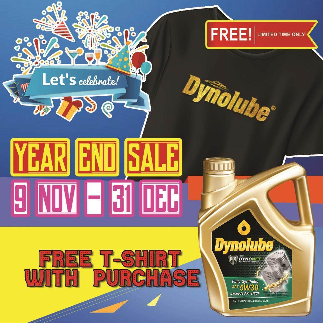 Dynolube 5W30 with DYNONFT Fully Synthetic Engine Oil SN/CF 4Liter FREE 1 X T-Shirt (D)