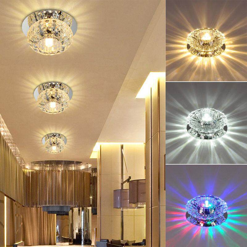LED Crystal Ceiling Light Fixture Pendant Lamp for Corridor Hallway Living Room Lobby Power3 - intl