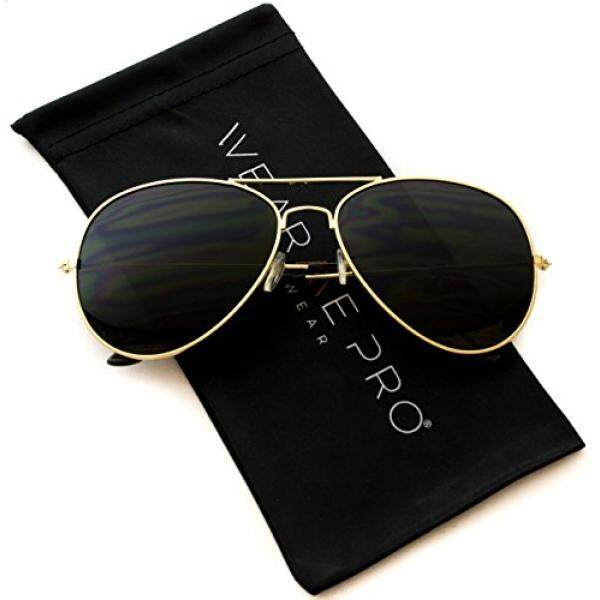 Wearme Pro-Klasik Cop Logam Standar Penerbang Kacamata Hitam-Gelap Lensa-Internasional