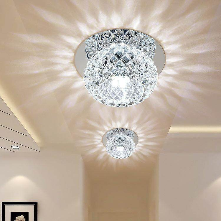 1PCS Modern Brief 3W LED Bulb Ceiling Light Fixture Home Deco Aisle Living Room Crystal Ceiling Lamp