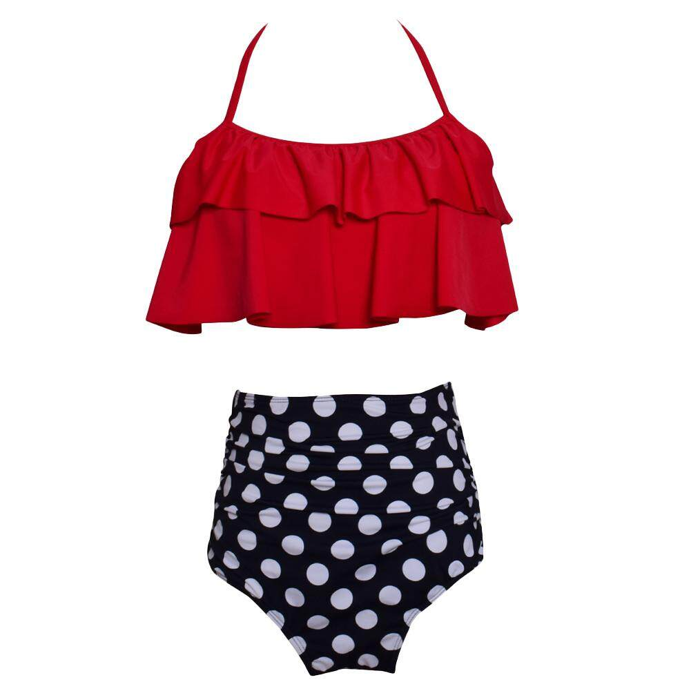 c891776a737 Bikini Set Double Ruffle Swimwear Women Swimsuit Off Shoulder High Waist  Swim Wear Beach Bathing Suits