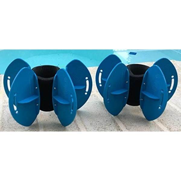 Aqualogix Biru Maksimum Ketahanan Air Fins-Omni-directional Air/Drag Ketahanan Latihan untuk Tubuh Bagian Bawah dan Atas latihan Renang-Termasuk Demonstrasi Online Video (Sirip Pasang Hrbbls) -Internasional