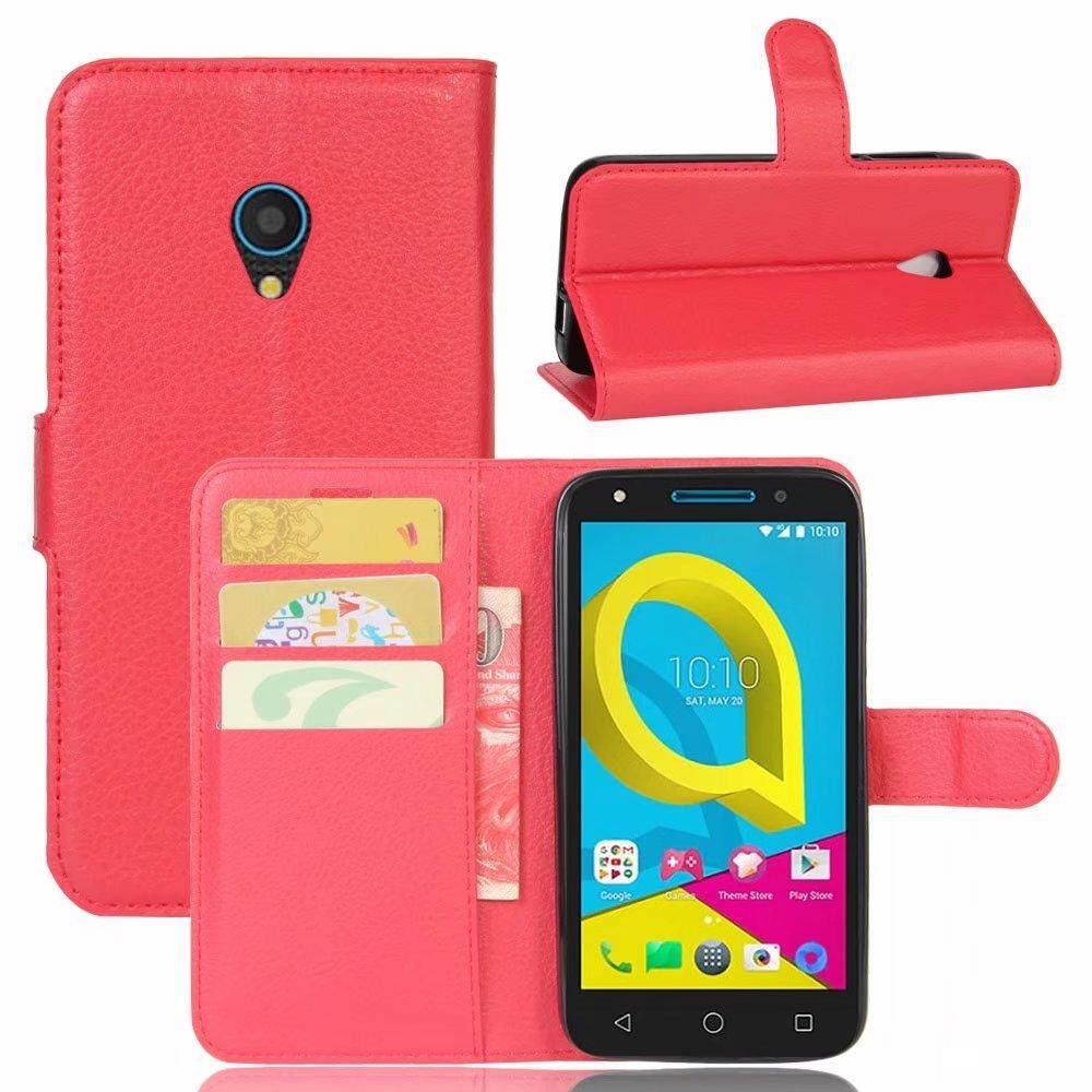 Leather Flip Cover Wallet Card Holder Case For Alcatel U5 4G - intl