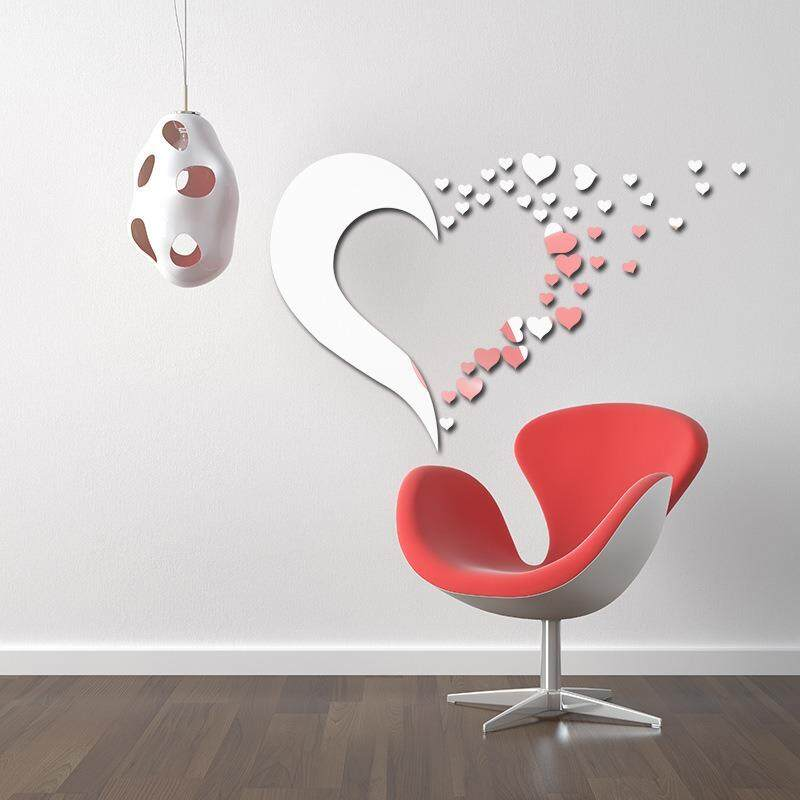 3D Wall Stickers Mirror Wall Stickers Removable Living Room Sofa Bed Head Decoration Combination Love Heart