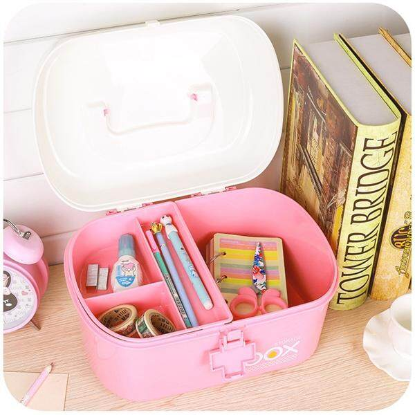 Pill Storage Box Organizer First Aid Kit Box with Removable Tray & Handle Family Emergency Kit Storage Organizer - Size L (Pink)