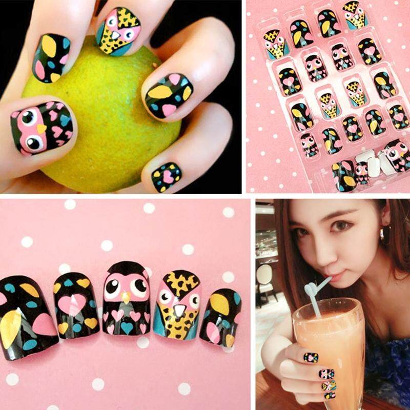 24pcs Cute Owl False Nails Full Cover Tips Women DIY Nail Art Manicure DIY Decor - intl Philippines