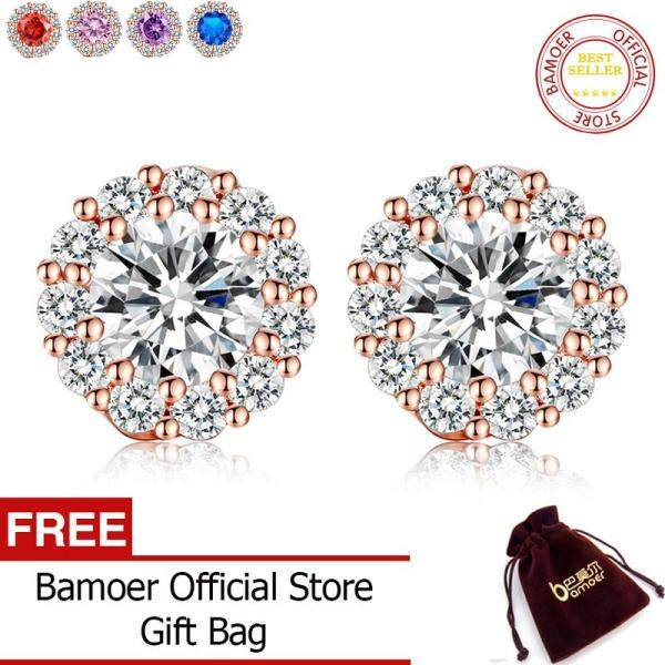 BAMOER Free Shpping Romantic Genuine 18K Gold Plated Round Stud Earrings with AAA Zircon For Women Jewelry Gift JIE054