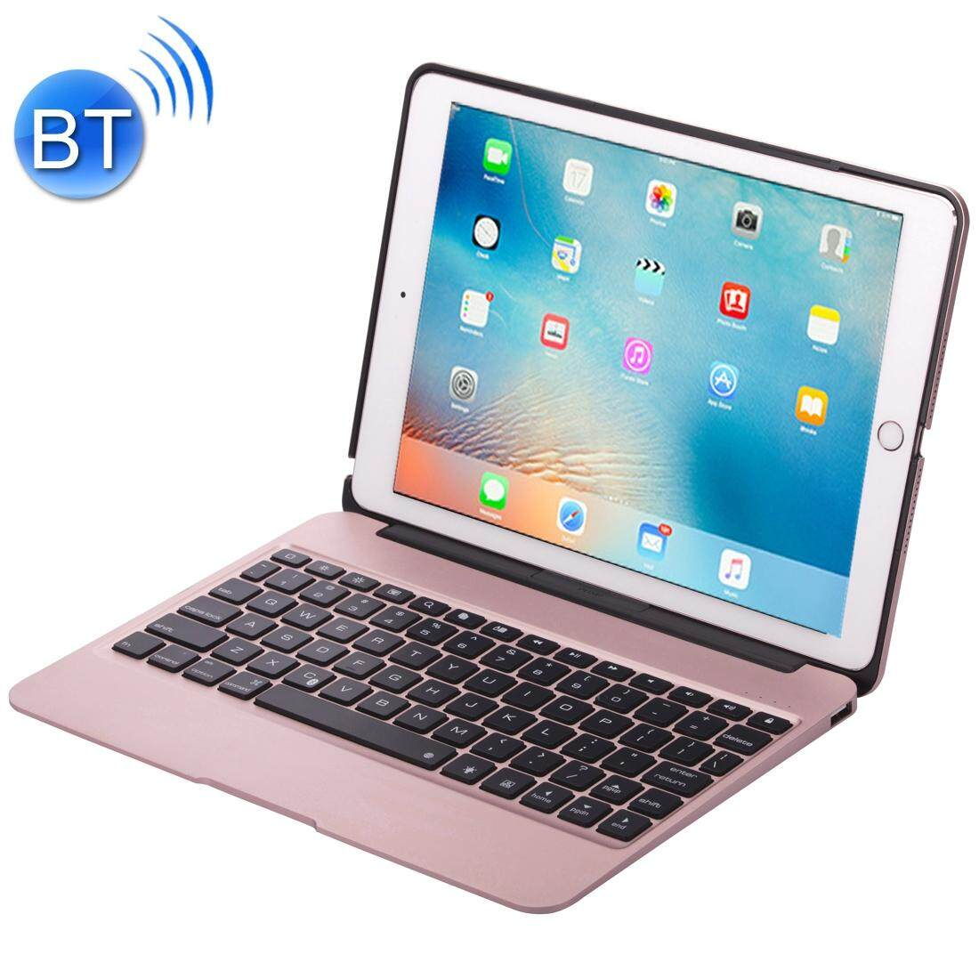 Great Deal F07 For Ipad Pro 12 9 Inch Portable Foldable Aluminium Alloy Wireless Bluetooth Backlight Keyboard Rose Gold Intl