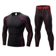 Men Outdoor Sports Compression Quick Drying Set Top + Pants Gym Training Base Layers - intl