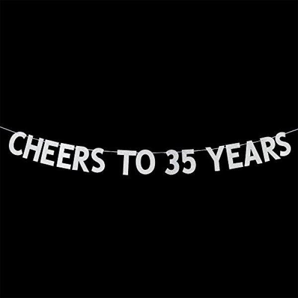 Cheers to 35 Years Banner - Happy 35th Birthday Party Bunting Sign - 35th Wedding Anniversary