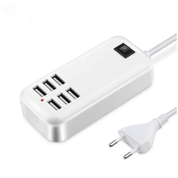 6 Ports Phone Charger Multi Port USB Charging Socket Mobile Charger Station with EU Plug