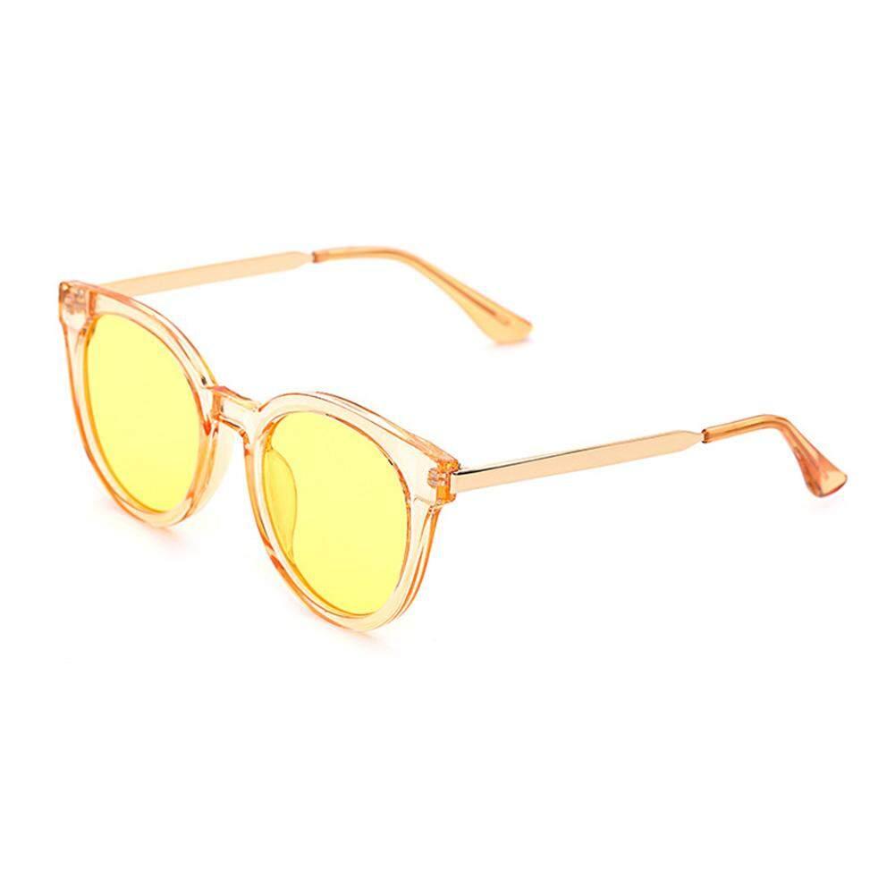 Dsstyles Hitam Wanita Transparan Melingkar Warna-warni Film Fashional Kacamata Hitam Lensa Warna: Jeli Kuning (Laut)-Internasional