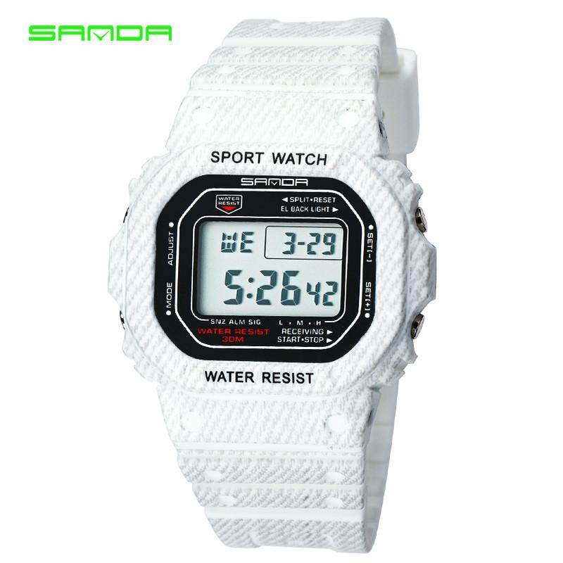 Amorfashion Sanda 339G Denim Sports Waterproof Hand Couple Watch 50 m Waterproof Sports Watch Rectangular Dial - Men