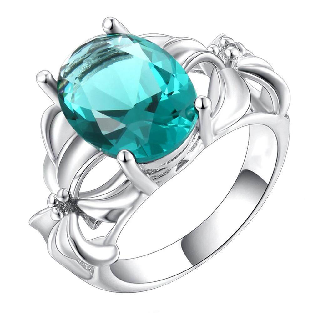 Anggun Pernikahan Pengantin Pesta Aksesori Wanita Zamrud Jari Cincin Perhiasan Hadiah U.s. 10 (Hijau)-Internasional