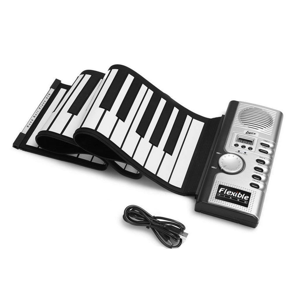 iooilyu 61 Key Portable Electronic Piano Keyboard Foldable Silicone Roll Up Piano Keyboards Built-in Loudspeaker For Kids Children - intl