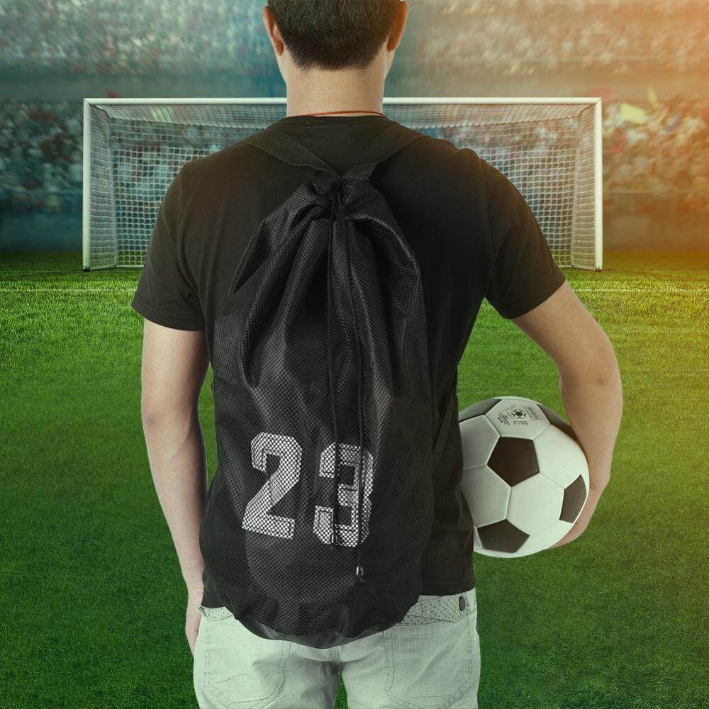 Basketball Football Soccer Training Exercising Mesh Backpack Shoulder Drawstring Bag (black) - Intl By Highfly.