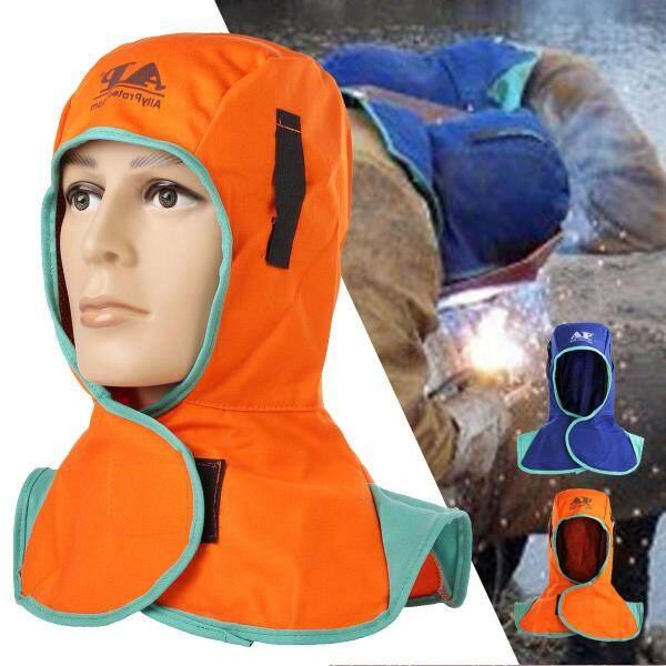 2 X Mũ Bảo Hiểm Chống Cháy, Mũ Bảo Vệ Cổ Hàn, Nắp Chụp Đầu Thợ Hàn Màu Cam