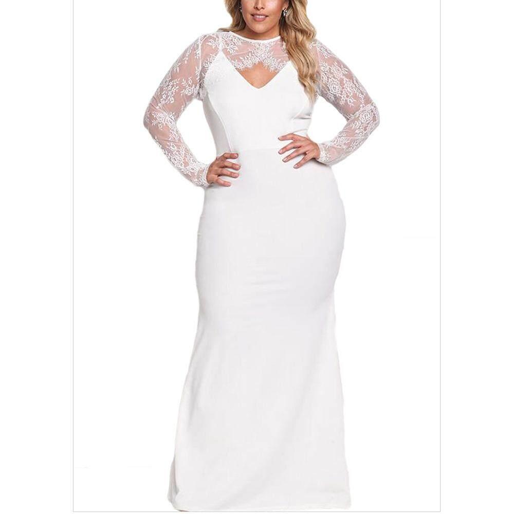 Plus Ukuran Besar Gaun Wanita Besar Ukuran Malam Vestido 2018 Musim Panas Dua Buah Set Pesta Renda Atasan + Spaghetti tali Panjang Gaun