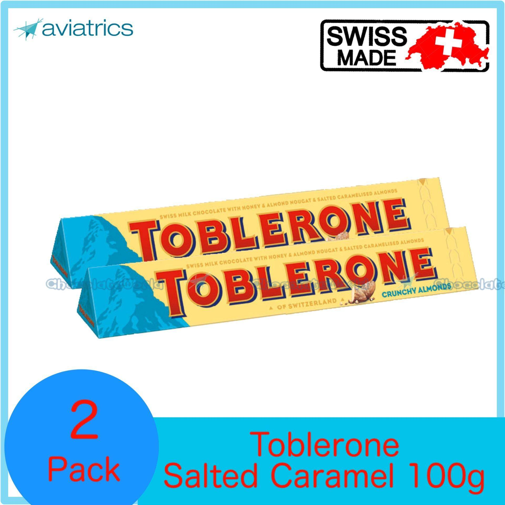 Toblerone with Salted Caramelised Almond 100g X 2 (SWISS MADE)