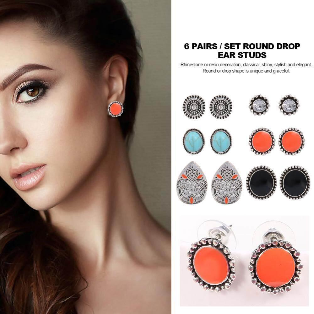 6Pairs/Set Women Round Drop Earrings Ear Studs Rings with Rhinestone Resin Decoration - intl