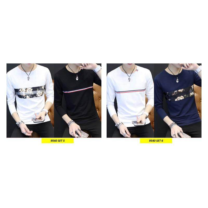 (PRE ORDER 14 DAYS)  Korean Style Men Long Sleeve Shirt Collection 263-9540 Set5 (White and Black) L