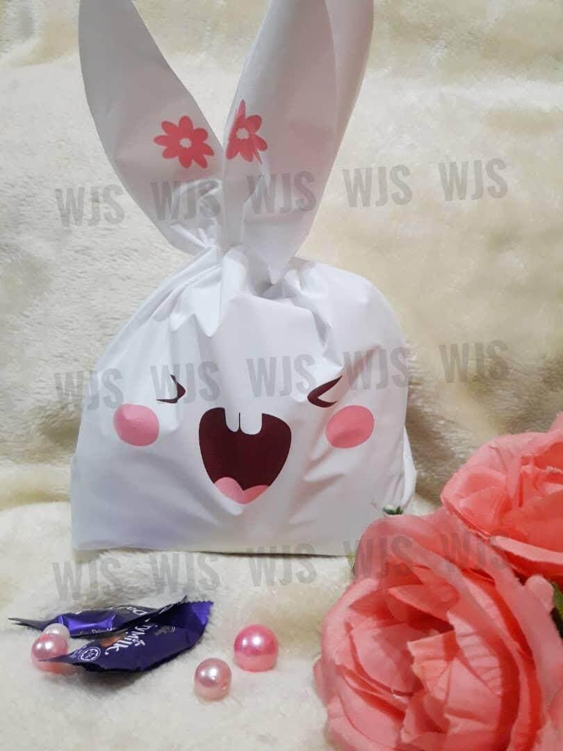 (MULTIPLE SIZES) WJS 50pcs 50 pcs Cute Rabbito Rabbit Laughing Teeth Pink Goodies Bag