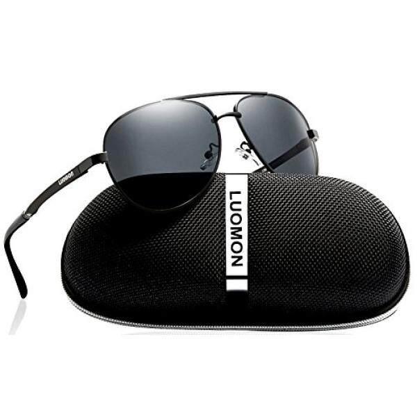 Luomon Pria Terpolarisasi Penerbang Kacamata Hitam Logam Bingkai Hitam/Grey Lensa untuk Memancing Mengemudi Bersepeda Golf Bisbol Lari Softball Daki Gunung LM033-Internasional
