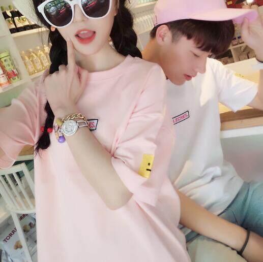 Zh Pria dan Wanita Pasangan Gaun Tide Semua-Cocok Siswa Korea Sederhana Bordir Kaus Wanita Merah Muda-Internasional