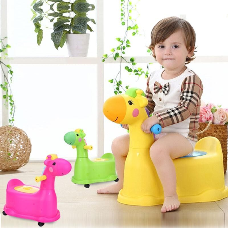Cartoon Cute Deer Childrens Toilet Seat Toilet Green By Glimmer.