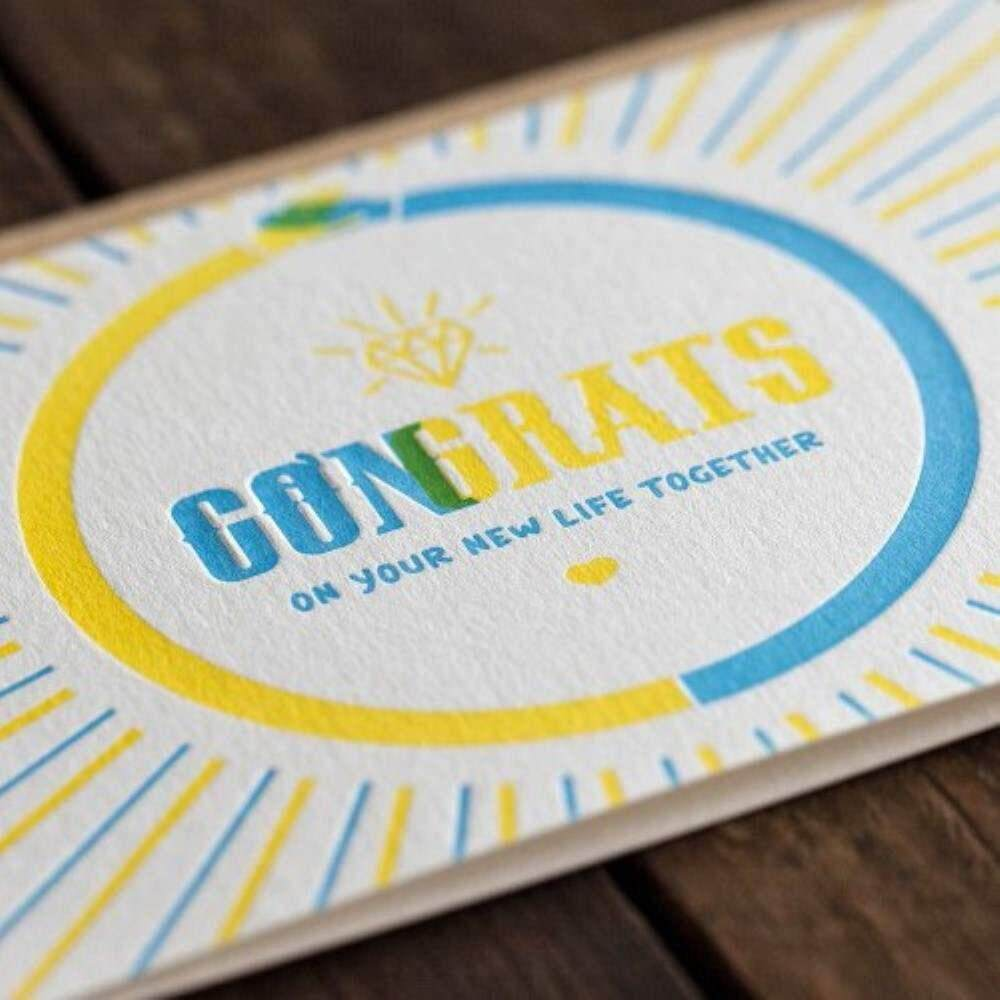 Letterpress Card - Congrats On Your New Life Together
