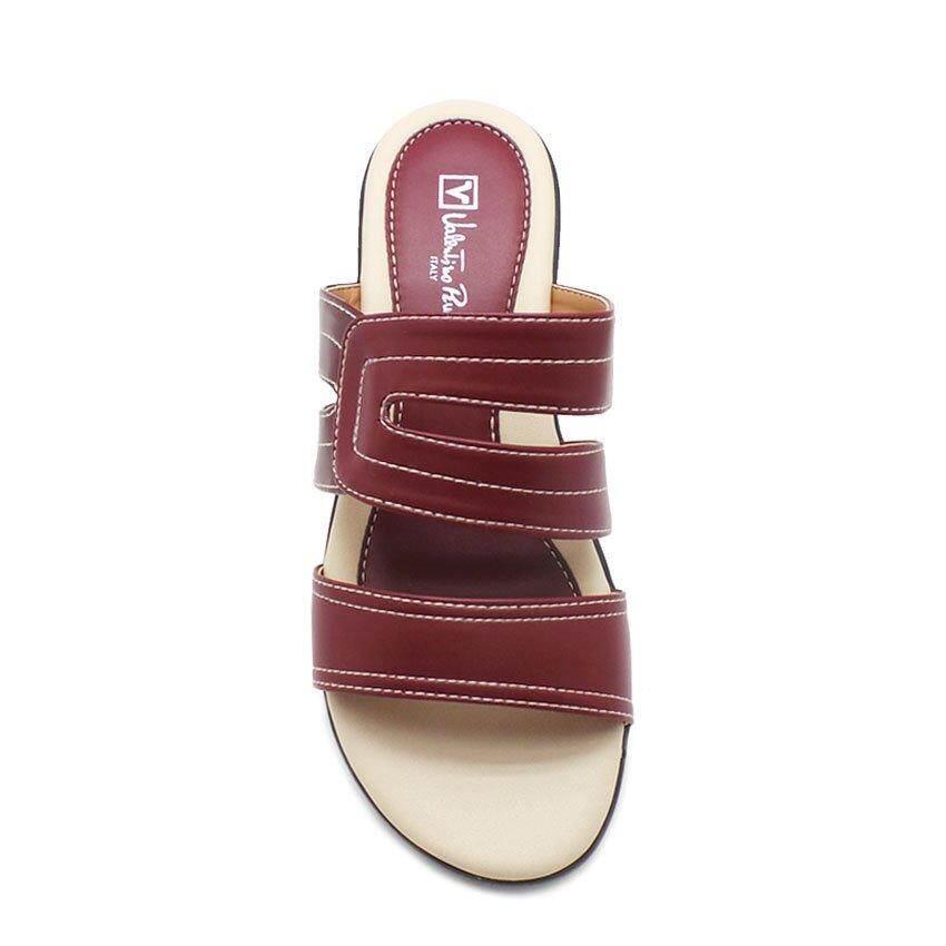 ... Valentino Rudy-04375-0003W-14 Wedges Sandal (Maroon) - 3