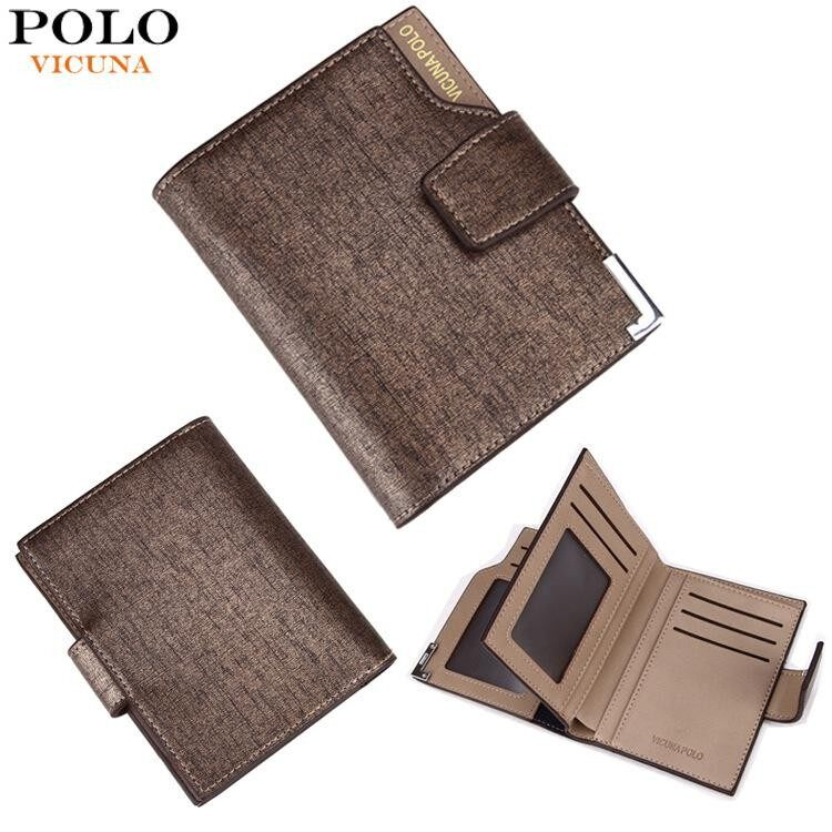 VICUNA POLO Man Italy Famous Brand Men Wallet High Quality PU Leather Trifold Large Capacity Short Metal Wallet - intl