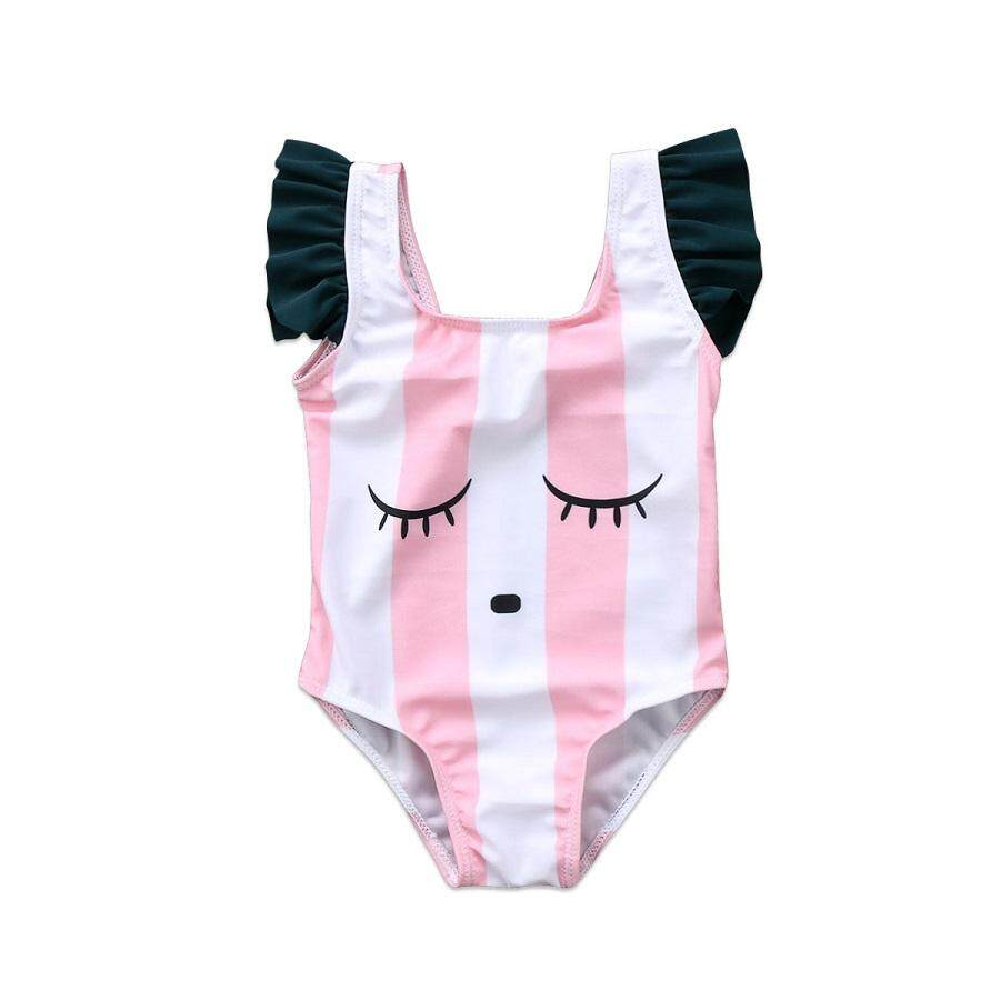 Bayi Anak-anak Menyenangkan Girls Swimsuit Kartun Pakaian Renang Bergaris Pakaian Beachwear