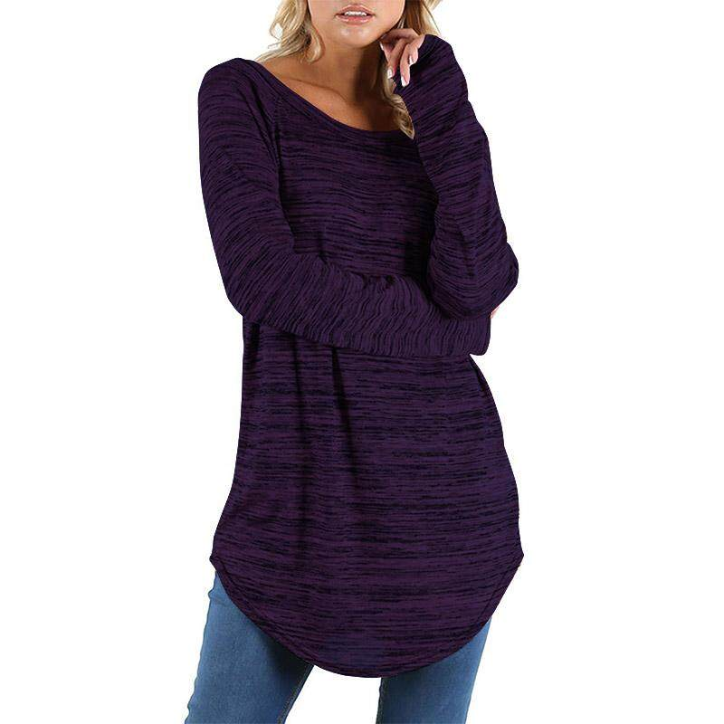 Compare Price Zanzea Women Crewneck Casual Long Sleeve Tops Blouse Loose Vintage Shirt Purple Intl On China